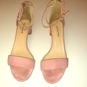 J Crew suede leather strap pink block heel sandals